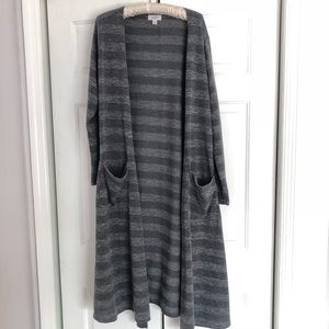 Lularoe two toned Gray striped Sarah duster